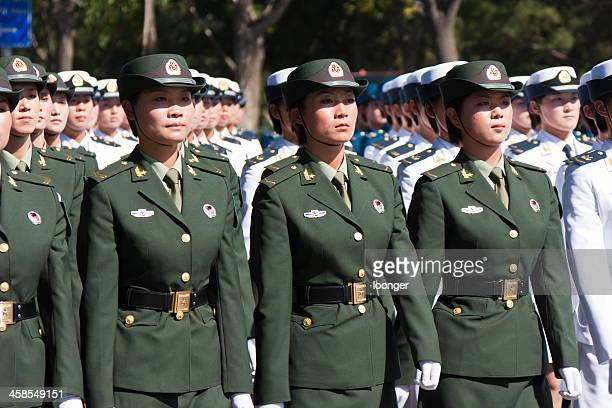 Chinese female soldiers marching of the military parade