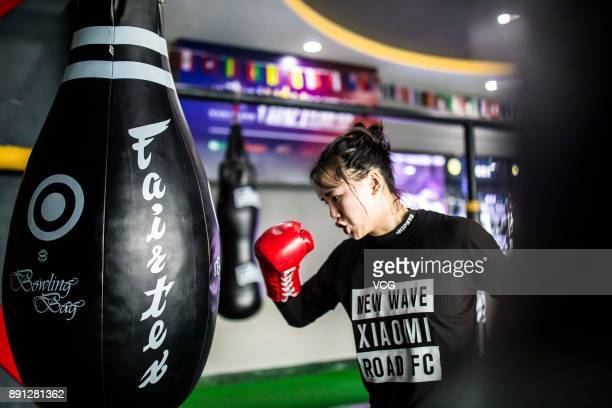 Chinese fighter Lin Heqin attends boxing training at Guangdong Olympic Centre Stadium on November 29 2017 in Guangzhou Guangdong Province of China...