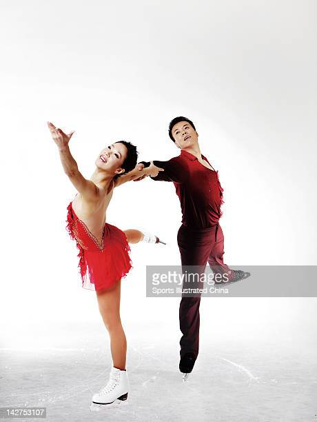 Chinese figure skaters Shen Xue Zhao Hongbo for Sports Illustrated China on December 8 2011 in Beijing China