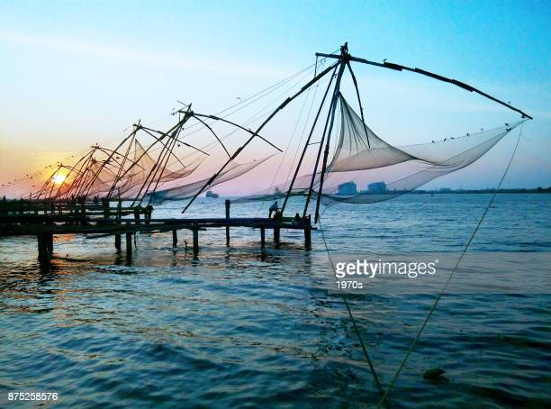 Chinese Fishing Nets at sunset, Fort Kochin, India.
