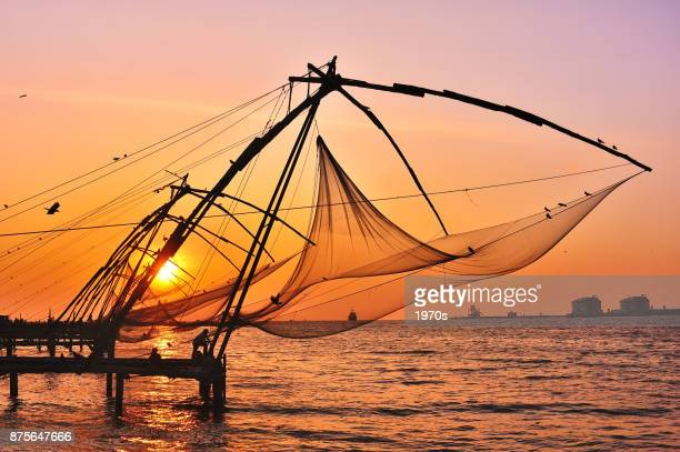 chinese fishing nets at sunset, fort kochin, india. - kochi india stock pictures, royalty-free photos & images