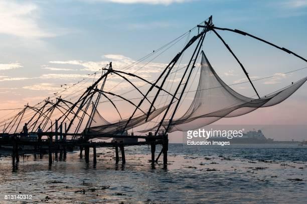 Chinese fishing nets Fort Kochi Cochin Kerala India
