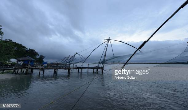 Chinese fishing nets in Kochi during the monsoon state of Kerala on July 19 2016 in India