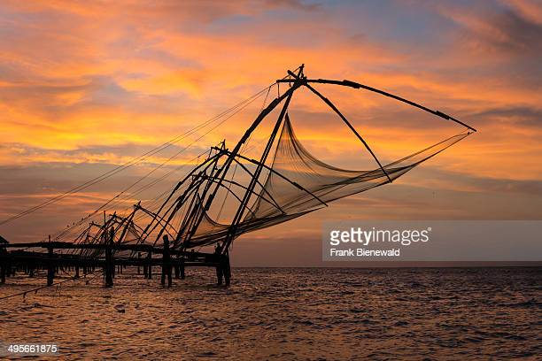 Chinese fishing nets located in Fort Kochi at sunset
