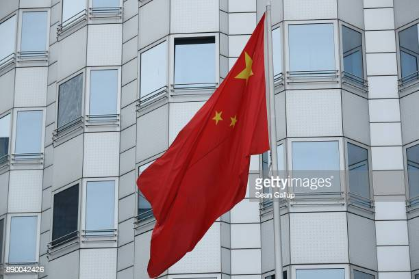 Chinese flag flies at the Chinese Embassy on December 11 2017 in Berlin Germany HansGeorg Maassen the head of the German intelligence service the BvG...