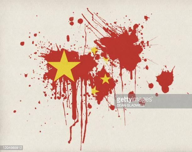 chinese flag paint splash - combat sport stockfoto's en -beelden
