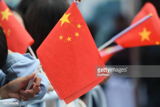 Chinese flags at the finish line of the fourth stage 1522km from Nanning to Nongla Scenic Area of the 2nd Cycling Tour de Guangxi 2018 On Friday...