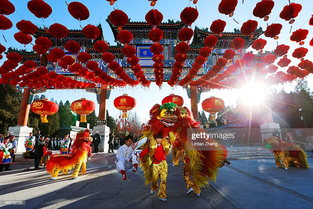 Chinese folk artists perform during the opening ceremony of the Spring Festival Temple Fair at the Temple of Earth park on February 18, 2015 in Beijing, China. The Chinese Lunar New Year of Sheep also known as the Spring Festival, which is based on the Lunisolar Chinese calendar, is celebrated from the first day of the first month of the lunar year and ends with Lantern Festival on the Fifteenth day.