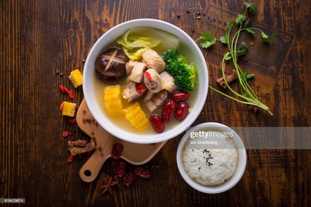 Chinese food, chicken soup : Stock Photo