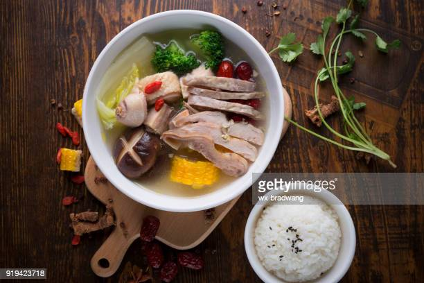 chinese food, chicken soup - samgyetang stock photos and pictures