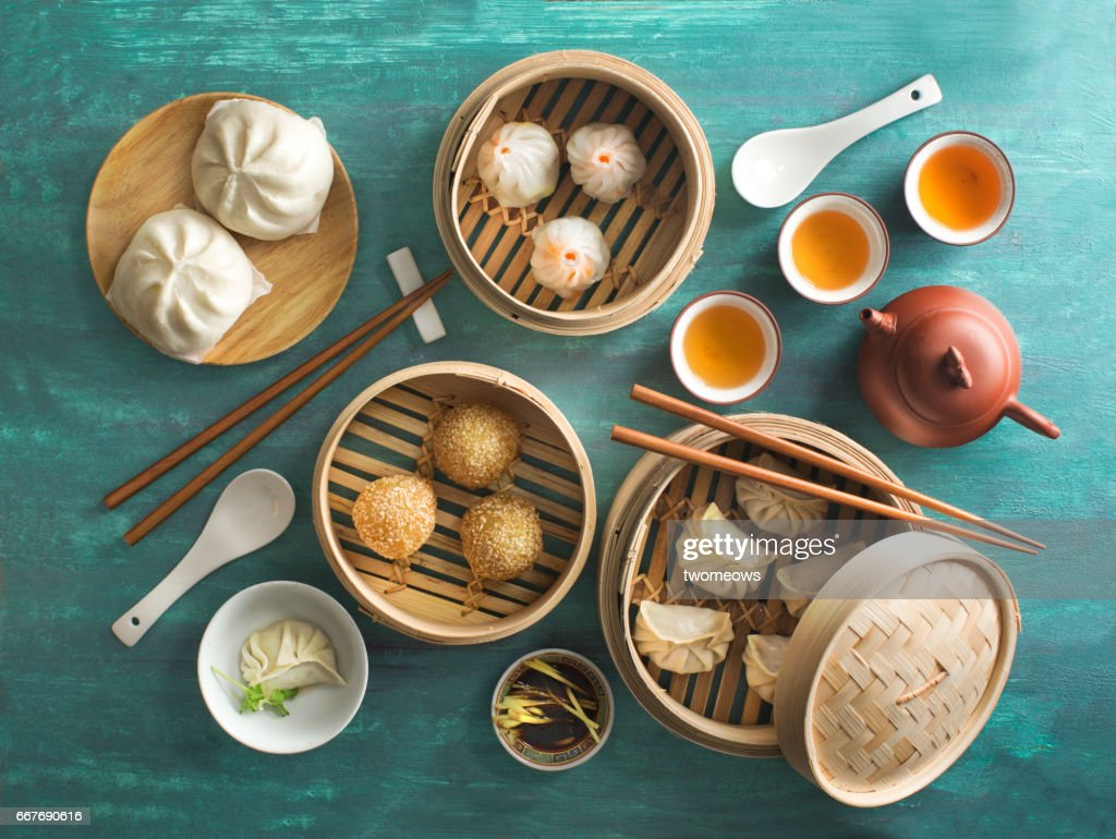 """Chinese food """"dim sum"""" on green background. : Stock Photo"""