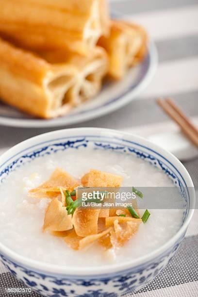 Chinese food rice porridge and youtiao