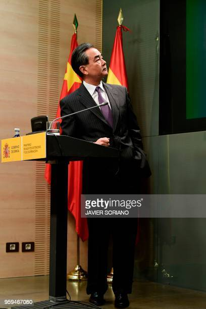 Chinese Foreign Minister Wang Yi holds a press conference with his Spanish counterpart following a meeting in Madrid on May 17 2018