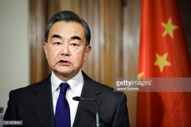 Chinese Foreign Minister Wang Yi is pictured during a press conference on February 13 2020 in Berlin Germany