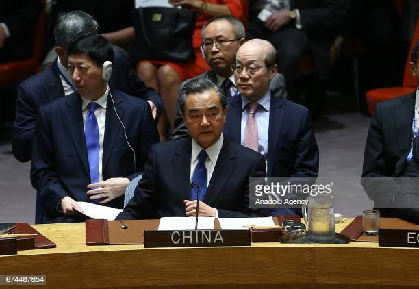 Chinese Foreign Minister Wang Yi is seen during a security council meeting on North Korea at the United Nations headquarters in New York United...