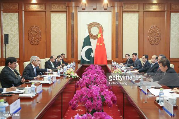 Chinese Foreign Minister Wang Yi meeting with Pakistan Foreign Minister Khawaja Muhammad Asif at Diaoyutai State Guesthouse on September 8 2017 in...