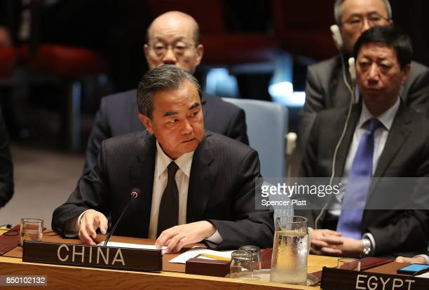 Chinese Foreign Minister Wang Yi speaks at a Security Council meeting during the 72nd United Nations General Assembly at UN headquarters on September...