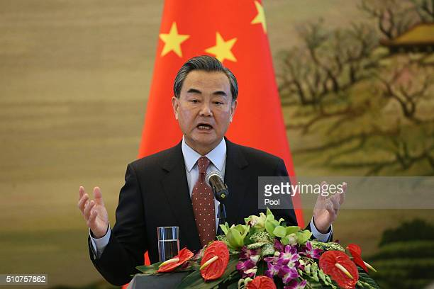 Chinese Foreign Minister Wang Yi speaks during a joint news conference with Australian Foreign Minister Julie Bishop at the Ministry of Foreign...