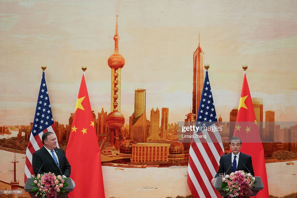 Chinese Foreign Minister Wang Yi (R) speaks during a press conference with U.S. Secretary of State Mike Pompeo (L) at the Great Hall of the People on June 14, 2018 in Beijing, China. At the invitation of Chinese State Councilor and Foreign Minister Wang Yi, U.S. Secretary of state Mike Pompeo is visiting China.