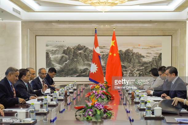 Chinese Foreign Minister Wang Yi speaks during his meeting with Deputy Prime Minister Of Nepal Krishna Bahadur Mahara at the Ministry of Foreign...