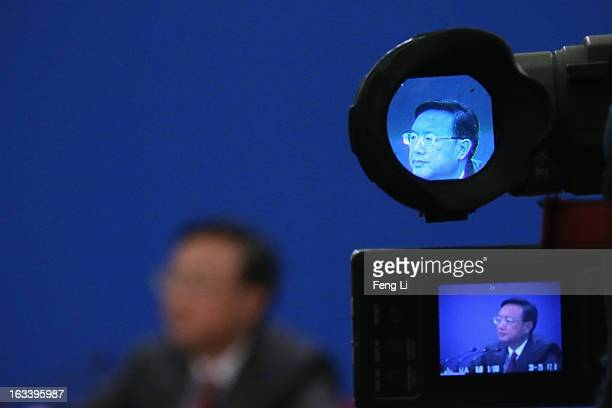 Chinese Foreign Minister Yang Jiechi attends a news conference in Beijing's Great Hall of the People on March 9, 2013 in Beijing, China. China's new...