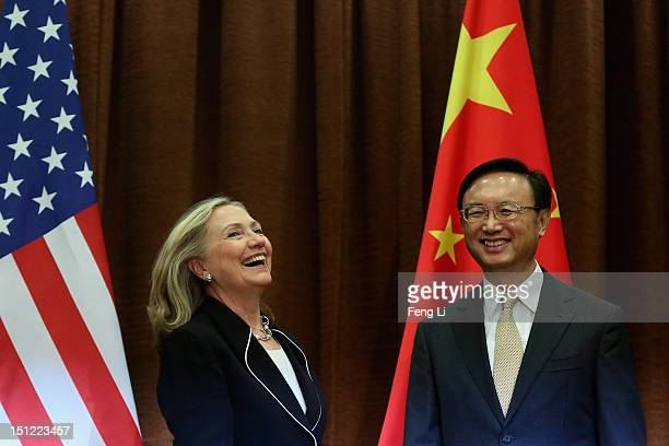 Chinese Foreign Minister Yang Jiechi meets with US Secretary of State Hillary Clinton in Beijing on September 4, 2012.