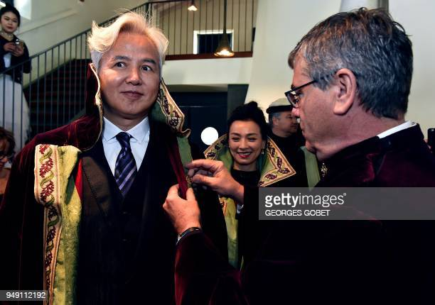 Chinese former actor and CEO of Shanghai Dowell Trading RuiYang Lin and his wife Chinese former actress and Shanghai Dowell Trading administrative...