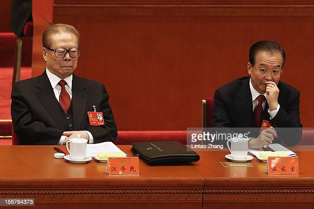 Chinese Former Chinese President Jiang Zemin and Chinese Prime Minister Wen Jiabao attends the opening session of the 18th Communist Party Congress...