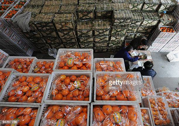 Chinese fruit sellers stock up their products ahead of the upcoming festive seasons in Hefei in eastern China's Anhui province on December 13 2009...