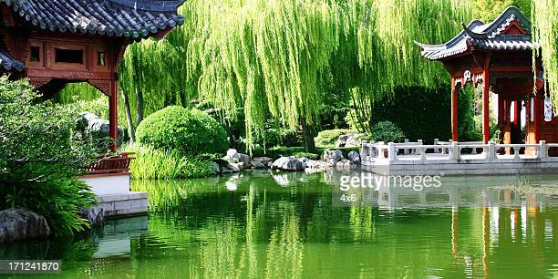 jardin chinois - karesansui photos et images de collection