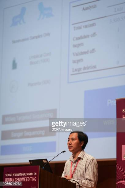 Chinese geneticist He Jiankui of the Southern University of Science and Technology in Shenzhen China seen speaking during the Second International...