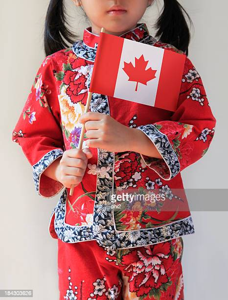 Chinese Girl Holding Canadian Flag