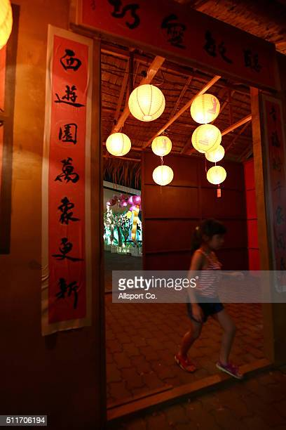 Chinese girl walks out of a decorated house with traditional Chinese lanterns at the Fo Guang Shan Dong Zen Temple to celebrate the Lantern Festival...