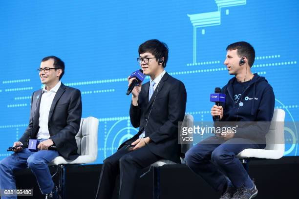 Chinese Go player Ke Jie attends a press conference after his second match against Google's artificial intelligence programme AlphaGo on day two of...