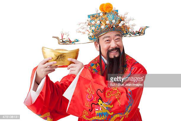 Chinese God of Wealth celebrating Chinese New Year