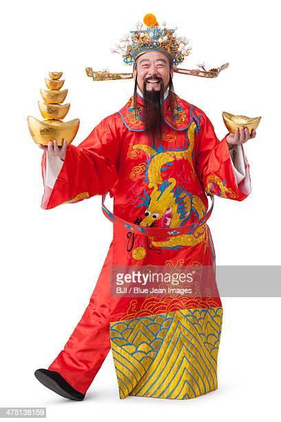 Chinese God of Wealth celebrating Chinese New Year
