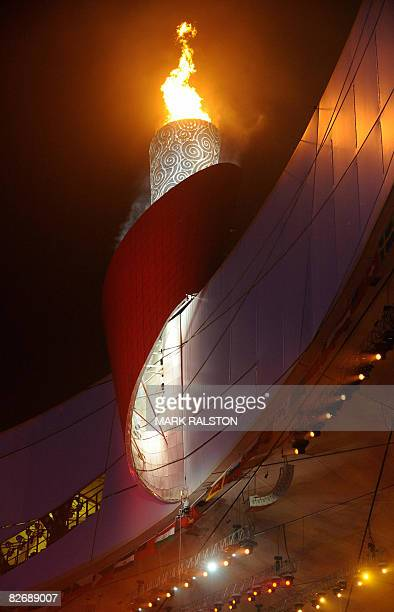 Chinese gold medallist Hou Bin lights the Paralympics flame at the National Stadium during the opening ceremony of the 2008 Beijing Paralympic Games...