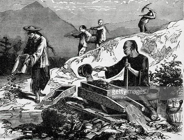 Chinese gold mining in California Undated engraving