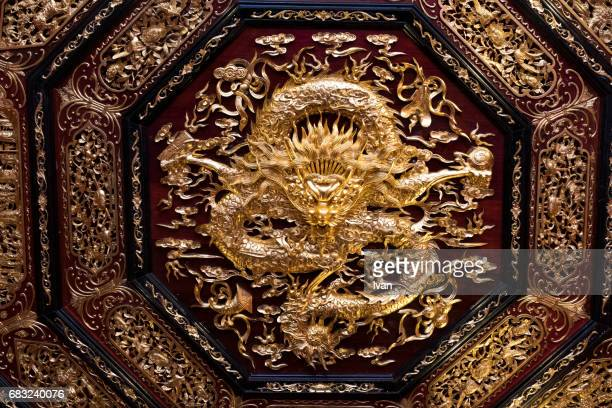 Chinese Golden Dragon on the Temple Ceiling