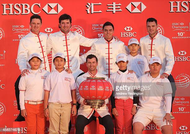 Chinese Golf Association young golfers join Justin Rose of England Bubba Watson of the United States Adam Scott of Australia Rickie Fowler of the...