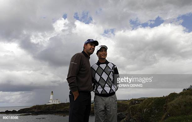 Chinese golfer Wen Chong Liang poses for photographs with Republic of Ireland golfer Padraig Harrington during a practice round on July 14 2009 ahead...