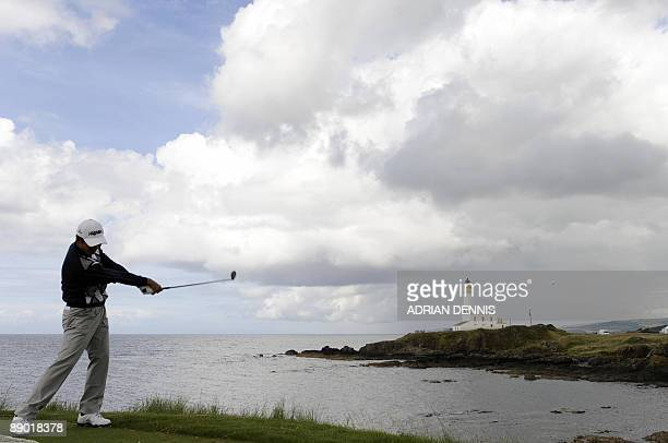 Chinese golfer Wen Chong Liang tees off during a practice round on July 14 2009 ahead of the 138th British Open Championship at Turnberry Golf course...
