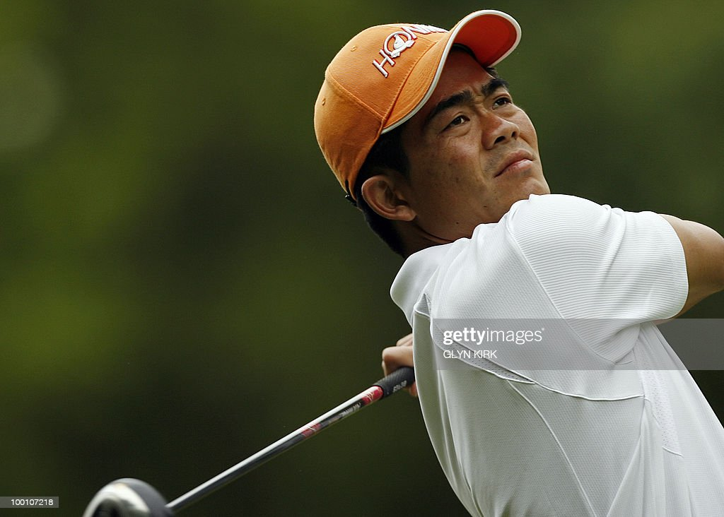 Chinese golfer Wen Chong Liang watches his drive from the 3rd tee on the first day of the PGA Championship on the West Course at Wentworth, central England on May 20, 2010.