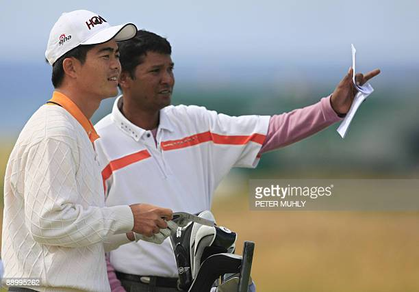 Chinese golfer Wen ChongLiang looks down towards the second hole during a practice round on July 13 ahead of the 138th British Open Championship at...