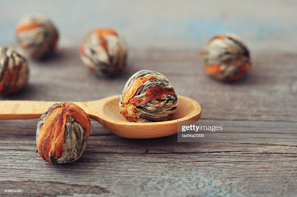 Chinese Green Tea Balls : Stock Photo