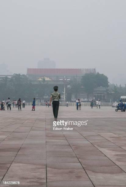 Chinese guard marching at Tienanmen Square. Beijing, China, 2013.