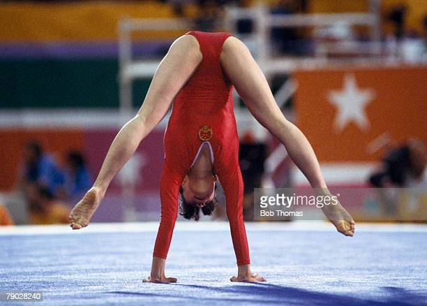 Chinese gymnast Ma Yanhong competes in the women's floor competition one of the artistic gymnastics events inside the Pauley Pavilion during the 1984...