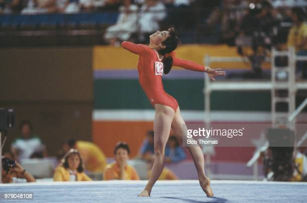 Chinese gymnast Ma Yanhong pictured in action for China on the floor exercise during competition in the Women's individual allaround gymnastics event...
