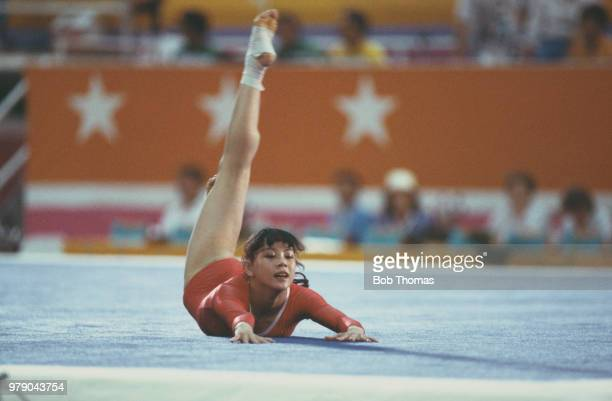 Chinese gymnast Wu Jiani pictured in action for China on the floor exercise during competition in the Women's individual allaround gymnastics event...