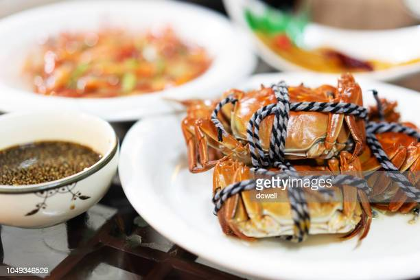 chinese hairy crab - crab stock photos and pictures